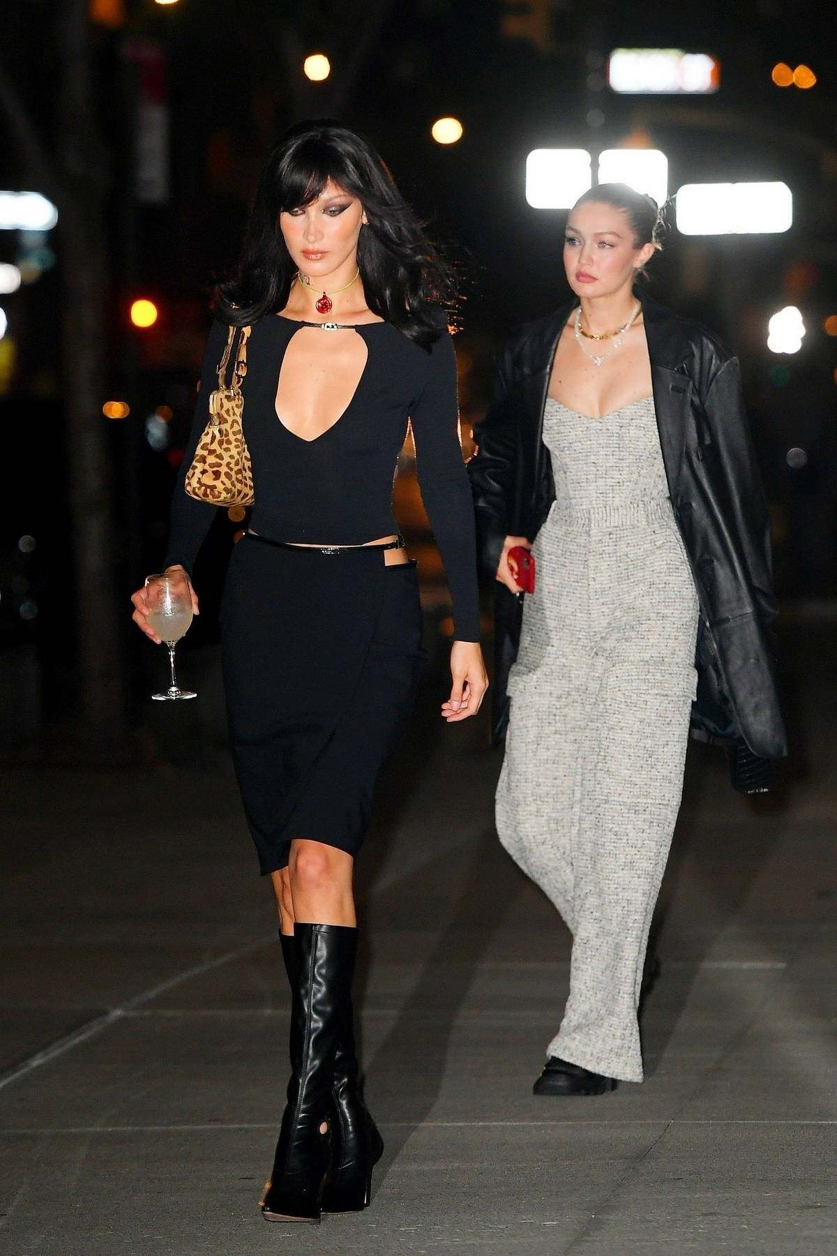 Bella Hadid and Gigi Hadid looks stylish as they step out to celebrate Bella's 25th birthday in New York City