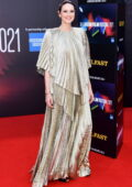 Caitriona Balfe attends the Premiere of 'Belfast' during the 65th BFI London Film Festival in London, UK