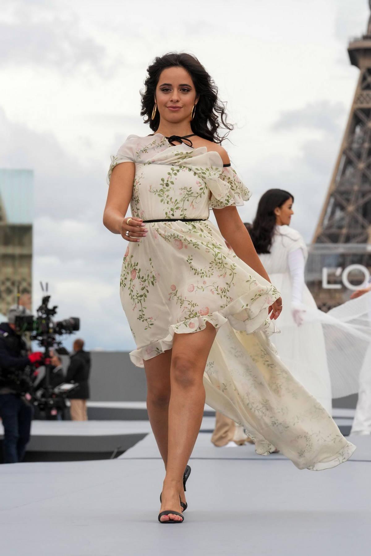 Camila Cabello attends the Le Defile L'Oreal Paris 2021 Show during Paris Fashion Week in Paris, France