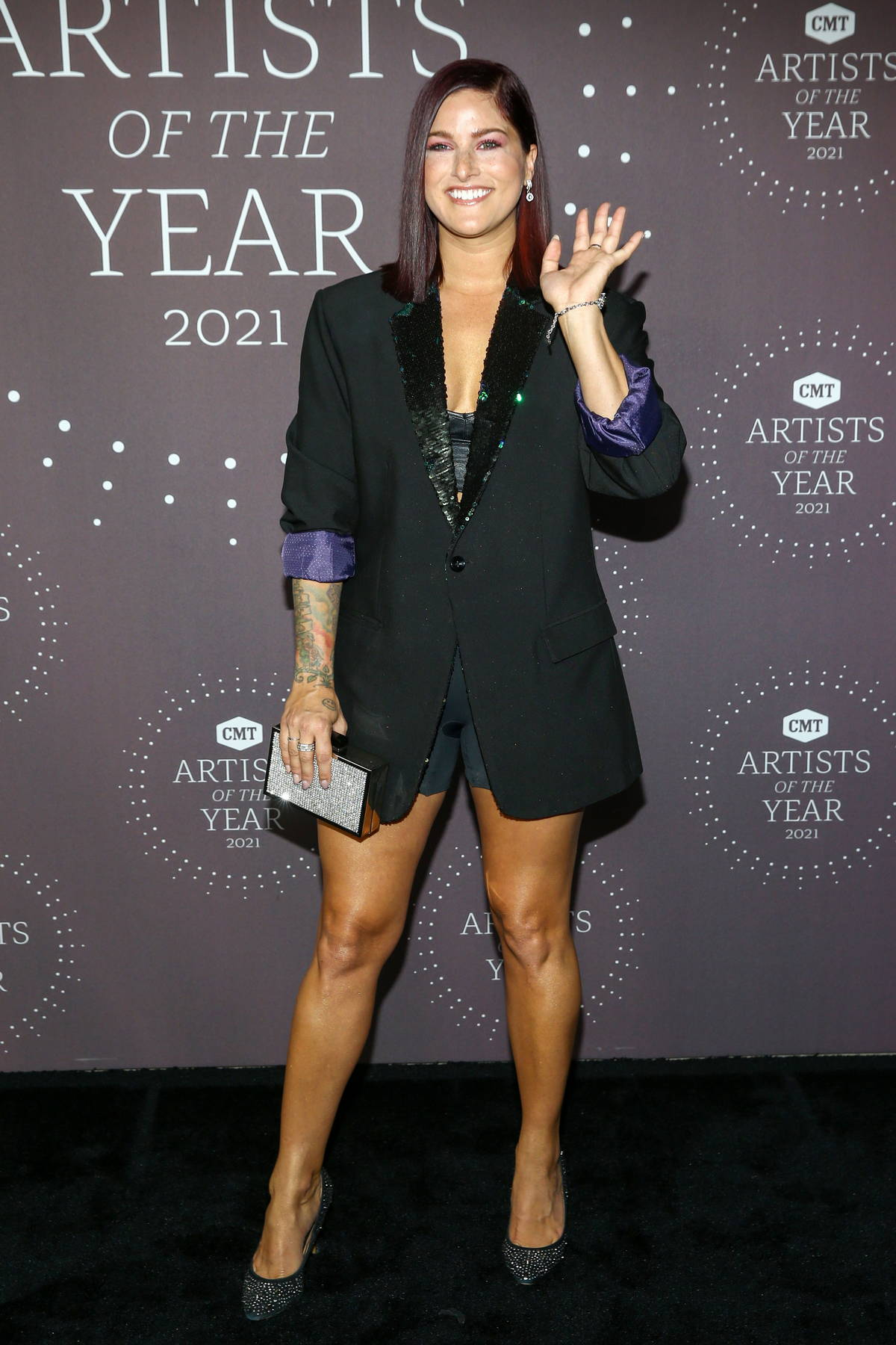 Cassadee Pope attends the CMT 'Artists of the Year 2021' Award Show in Nashville, Tennessee