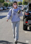 Chantel Jeffries goes casual in grey sweats while visiting SEV Laser Aesthetics in West Hollywood, California