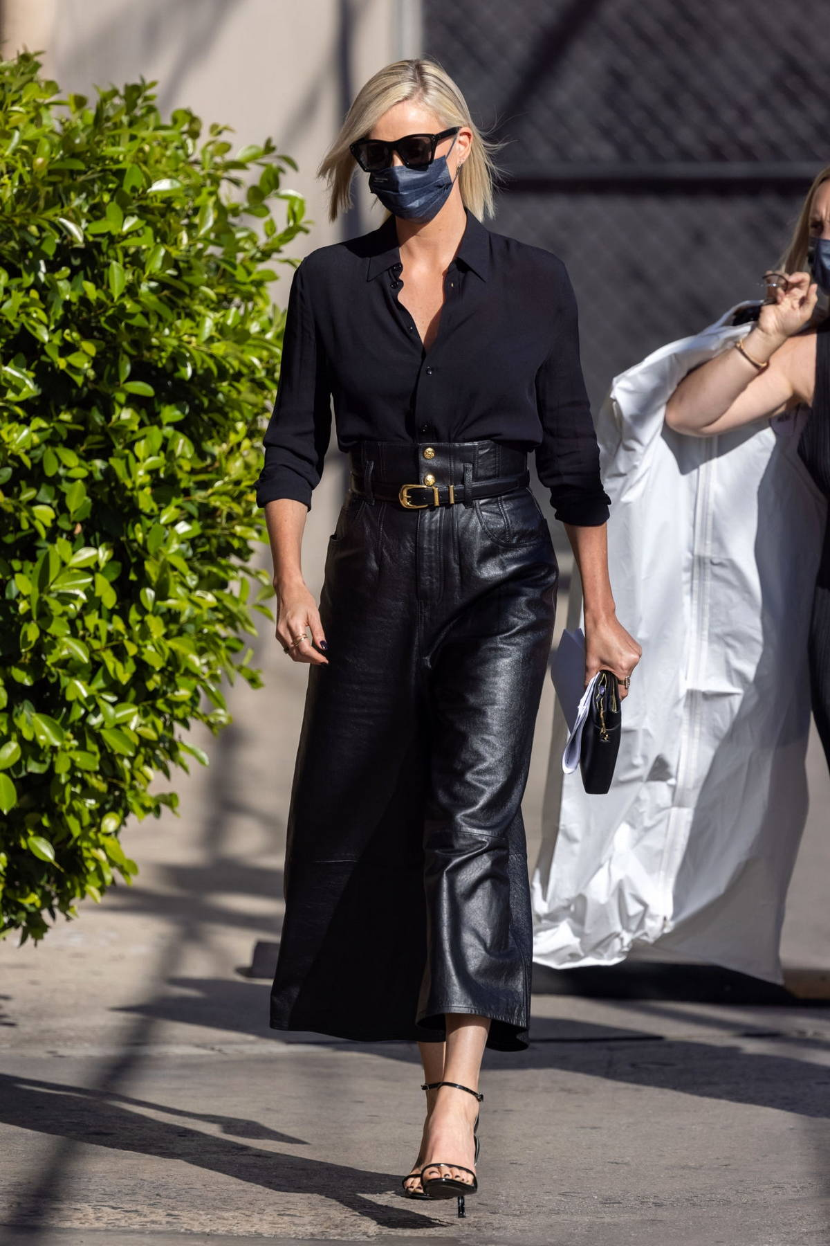 Charlize Theron rocks all-black for her appearance on 'Jimmy Kimmel Live' in Hollywood, California