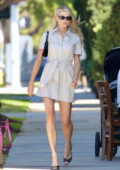 Charlotte McKinney puts on a leggy display in a beige mini dress while out for business meetings in Los Angeles