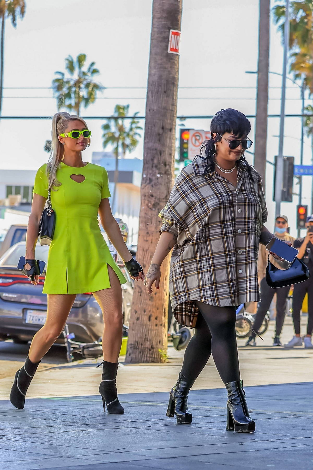 Demi Lovato and Paris Hilton step out together for Halloween shopping at Dolls Kill in West Hollywood, California