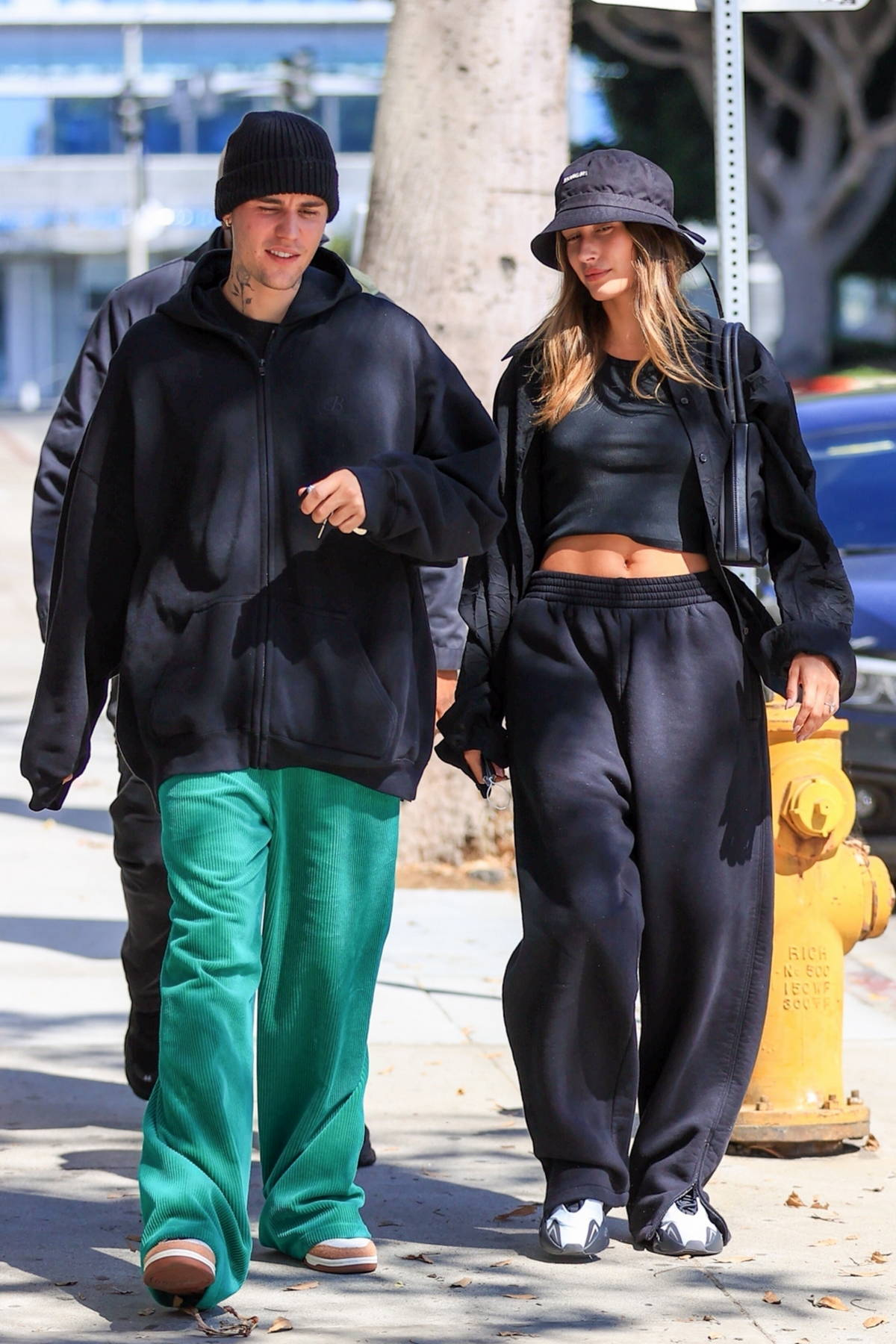 Hailey Bieber and Justin Bieber opt for a cozy look as they arrive at the SoHo house for lunch in Los Angeles