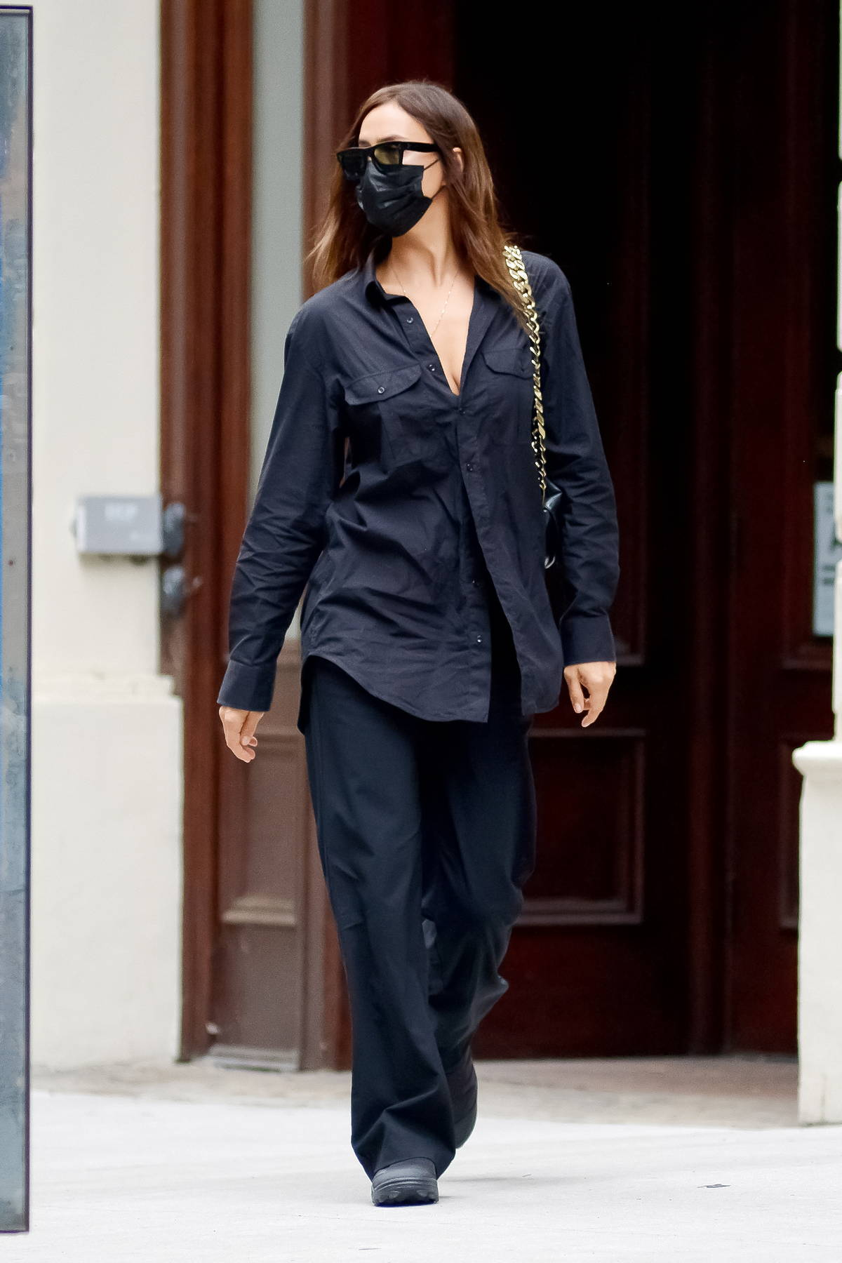 Irina Shayk looks striking in all-black while running errands in New York City