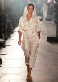Irina Shayk walks the runway for the Isabel Marant Womenswear SS22 show during Paris Fashion Week in Paris, France