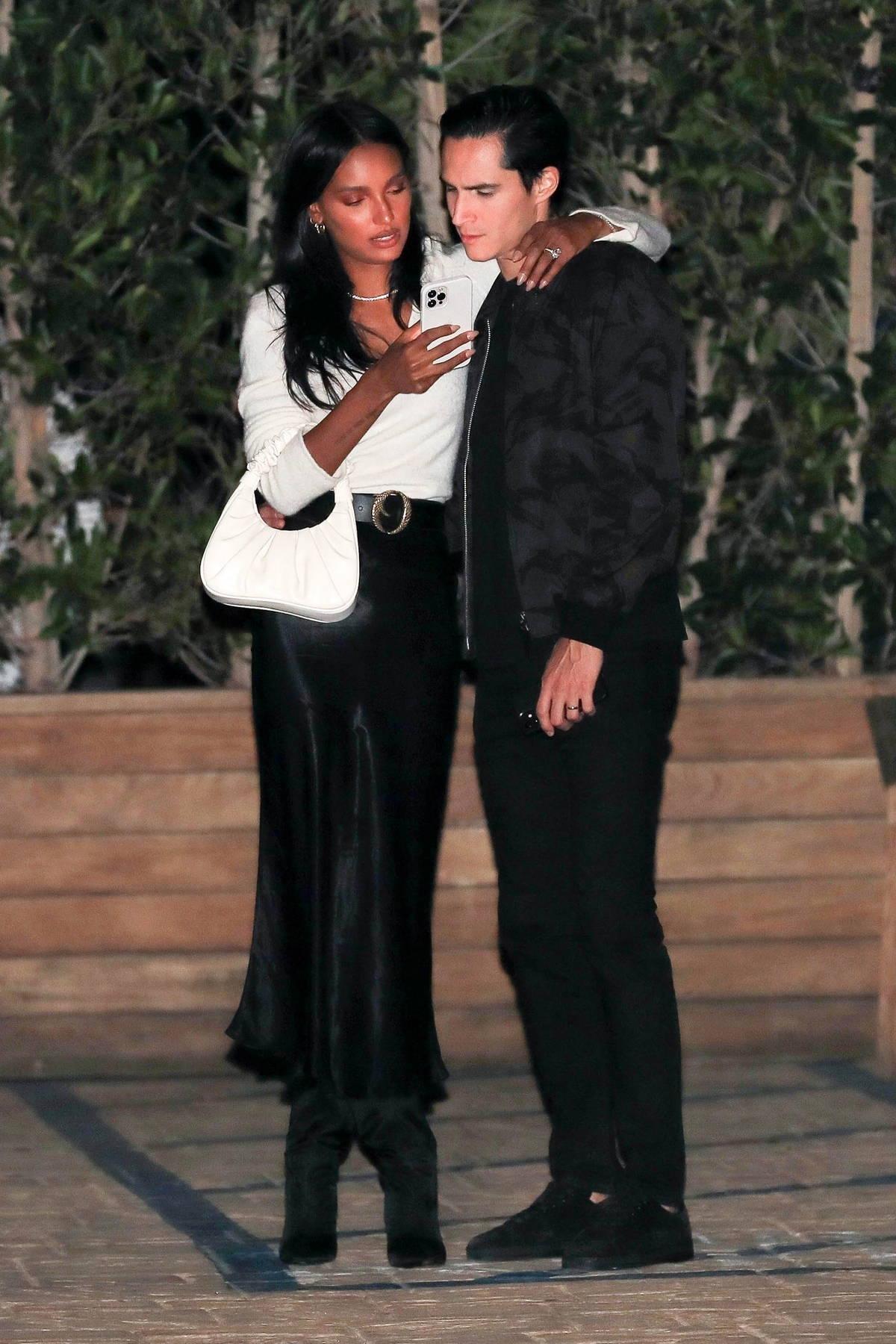 Jasmine Tookes and Juan David Borrero seen leaving after attending a friend's birthday at Soho House in Malibu, California