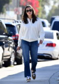 Jennifer Garner keeps it simple in a white sweatshirt and jeans running errands around town in Brentwood, California
