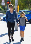 Jennifer Garner picks up her son from school before dropping him off at his swimming class in Brentwood, California