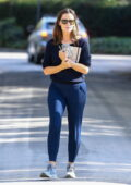Jennifer Garner wears a navy sweater and joggers while checking on her under-construction house in Brentwood, California