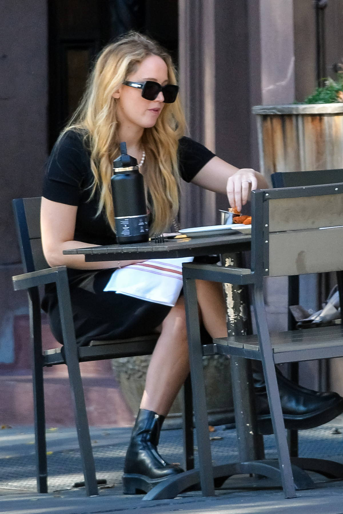 Jennifer Lawrence and Cooke Maroney spotted while enjoying an alfresco lunch date in New York City