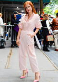 Jessica Chastain looks pretty in pink while promoting her new movie 'The Eyes Of Tammie Fay' in New York City