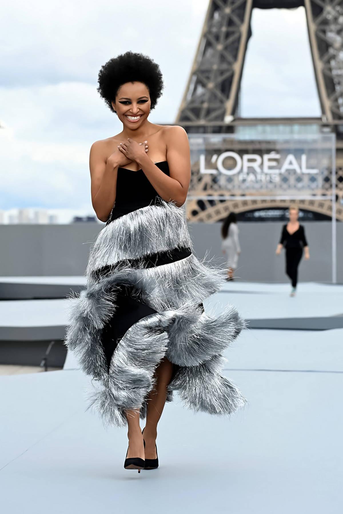 kat graham walks the runway for the le defile l'oreal paris 2021 show during paris fashion week in paris, france-031021_4