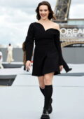 Katherine Langford walks the runway for the Le Defile L'Oreal Paris 2021 Show during Paris Fashion Week in Paris, France