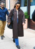 Kendall Jenner cuts a casual figure in a brown trench coat and blue denim as she steps out for lunch in New York City