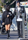Kourtney Kardashian shows off her engagement ring while out with fiancé Travis Barker in Montecito, California
