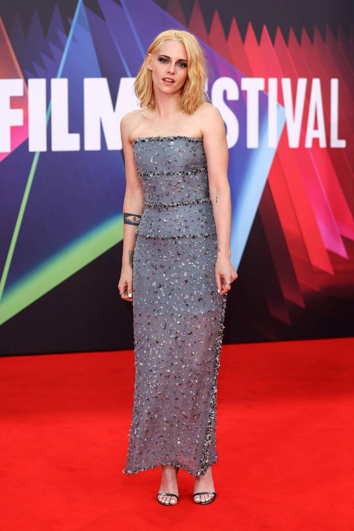 Kristen Stewart attends the UK Premiere of 'Spencer' during the 65th BFI London Film Festival in London, UK