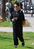 Lucy Hale keeps it casual in an all-black ensemble as she exits a nail salon in Studio City, California