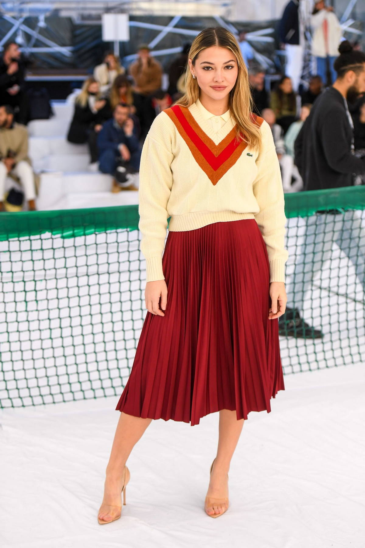 Madelyn Cline attends the Lacoste SS22 show during Paris Fashion Week in Paris, France