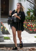 Margot Robbie puts on leggy display while she visits a nail salon before grabbing coffee in Los Angeles