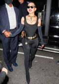 Nikita Dragun dons all-black as she arrives at Cardi B's 29th birthday party in Los Angeles