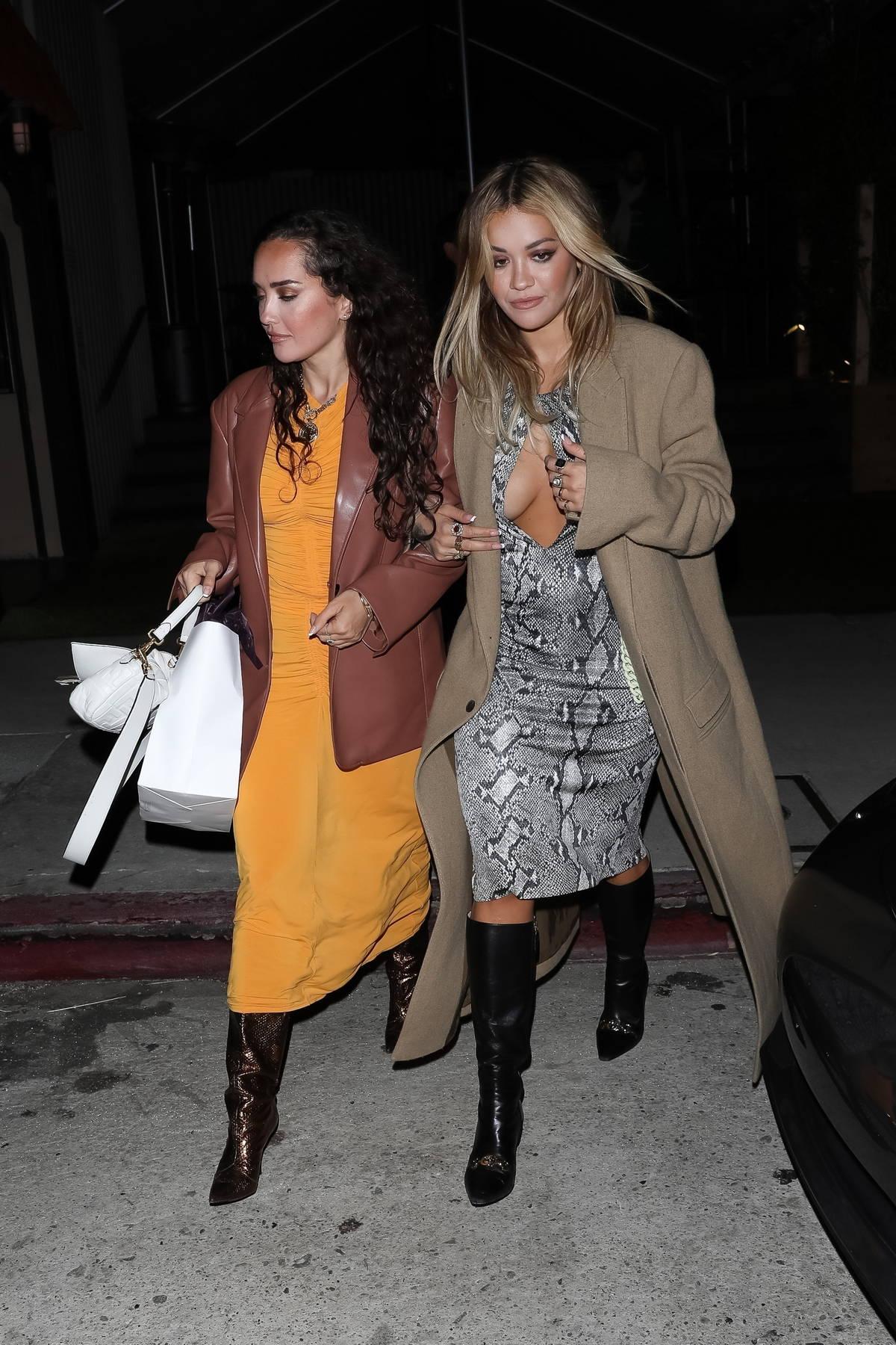 Rita Ora looks stylish while out to celebrate her sister's birthday at Giorgio Baldi in Santa Monica, California