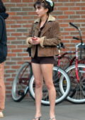 Rowan Blanchard flaunts her legs in tiny shorts while out with friends in the East Village, New York City