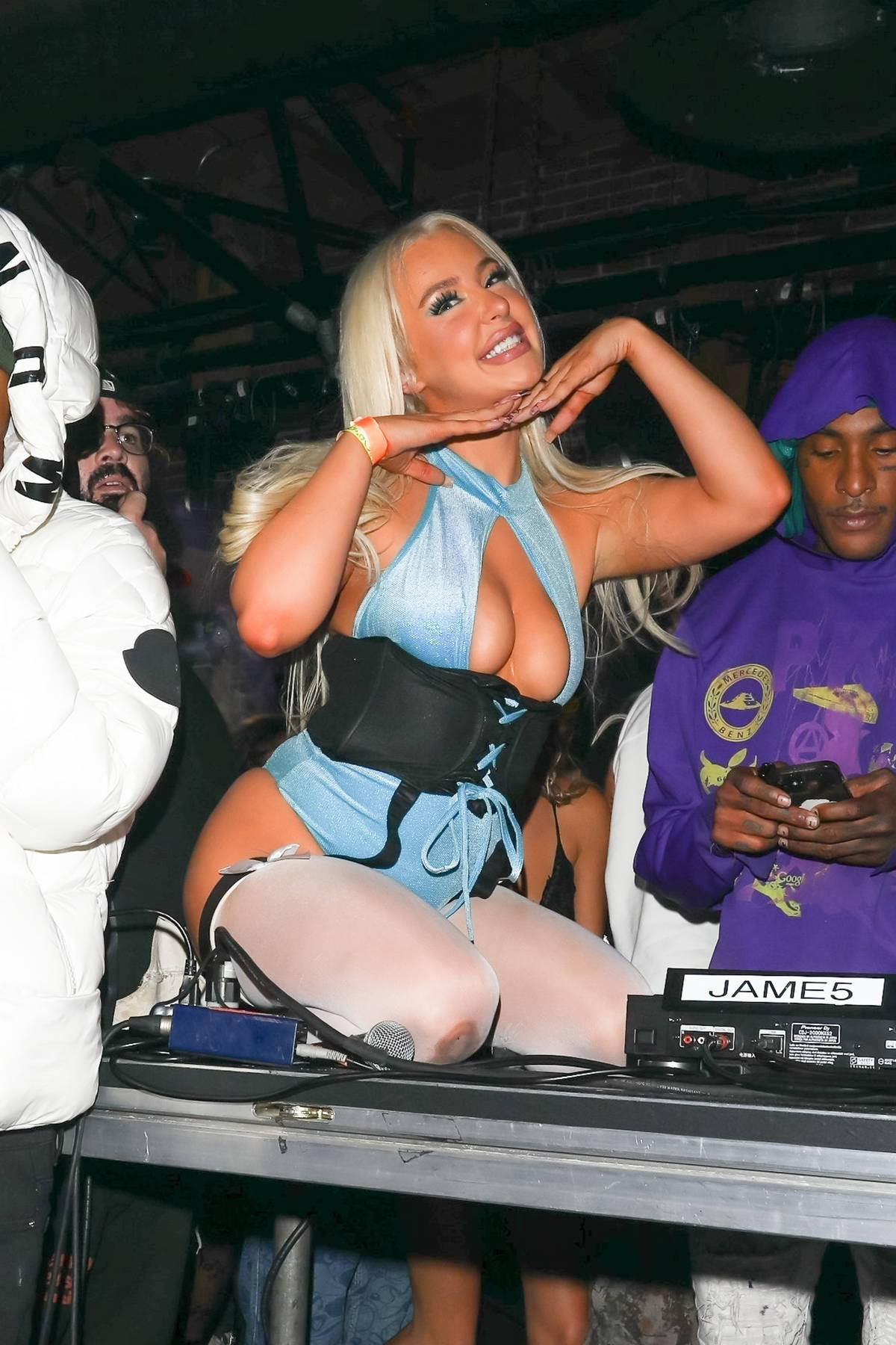 Tana Mongeau brings the house down as she hosts a Halloween party wearing a 'Powerpuff Girls' costume in Los Angeles