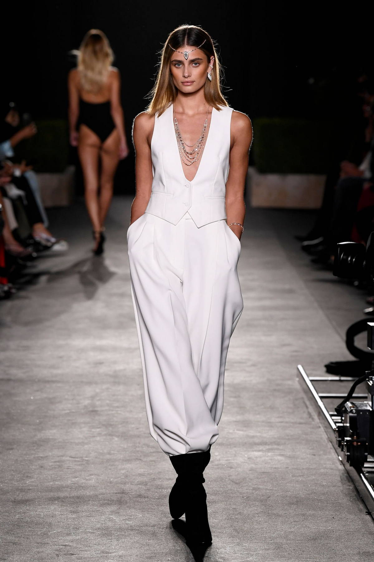 Taylor Hill walks the runway for Kate Moss High Jewelry show during Paris Fashion Week in Paris, France