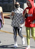 Vanessa Hudgens rocks Louis Vuitton jacket with leggings as she grabs a coffee with friends in West Hollywood, California