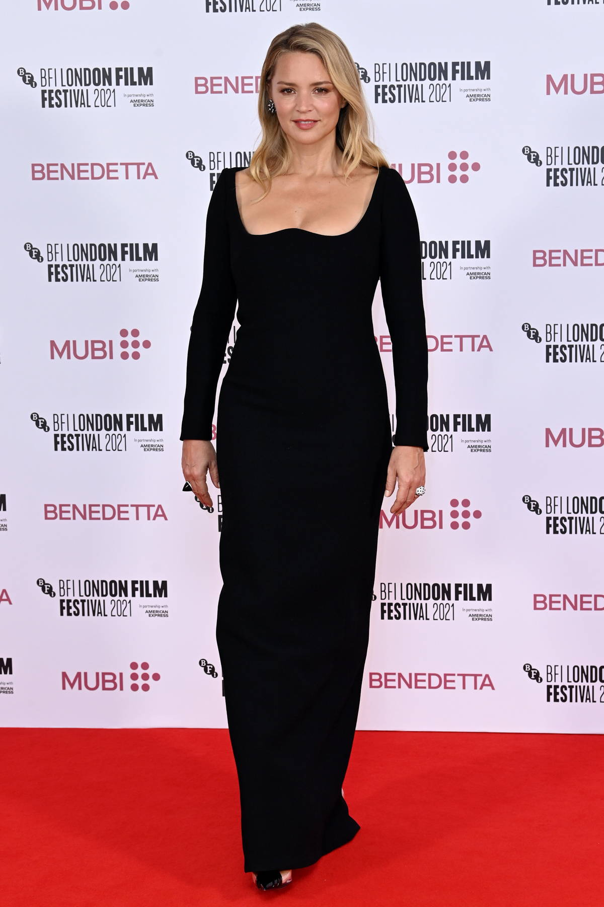 Virginie Efira attends the UK Premiere of 'Benedetta' during the 65th BFI London Film Festival in London, UK
